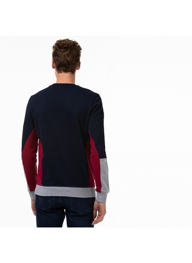 Lacoste Erkek Blok Desenli Sweatshirt SH2159.06L Lacivert